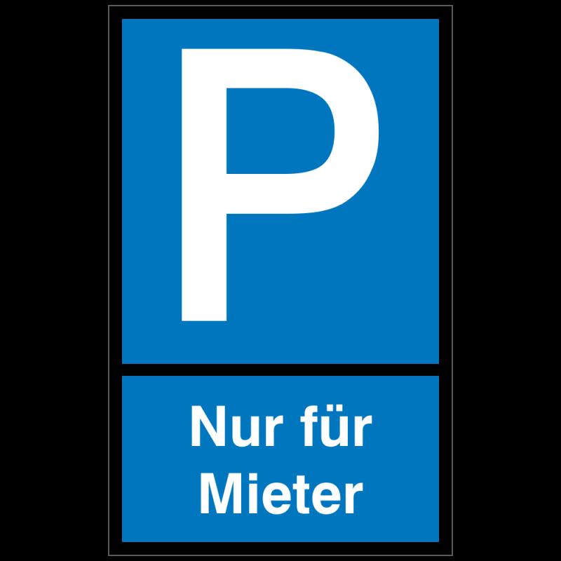 symbol p mit text nur für mieter sonder 150 x 250 cm